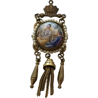 Antique Czech Pendent with Scene