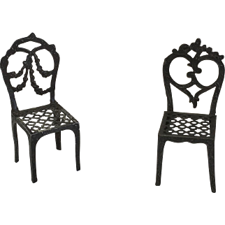 Dollhouse French Metal Chairs ca. 1910-1920