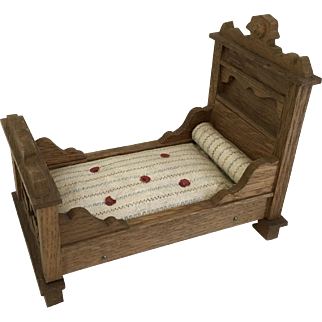 Beautiful German Schneegas Dollhouse Bed ca. 1900