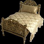 Fabulous Antique Dollhouse Metal Bed