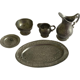 Early Antique Dollhouse German Pewter serving Pieces