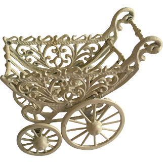 Lovely Vintage  Metal Dollhouse Or Doll Carriage
