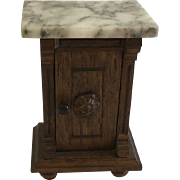Antique Dollhouse  German Marble Top Night Stand