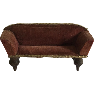 Dollhouse German Boulle Settee ca. 1900