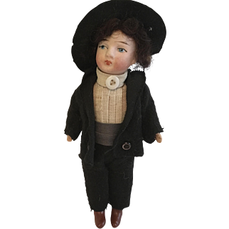 "German 5"" Bisque Boy Doll"
