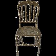 Darling German Dollhouse Soft Metal Chair ca. 1900