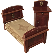 Wonderful Dollhouse German bed and Night Stand ca. 1910