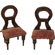 Antique Small Scale German Dollhouse Chairs ca. 1900