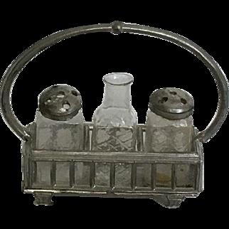 Wonderful German Dollhouse cruet Glass Holder set