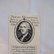 Antique Advertising Calendar Tile of Josiah Wedgwood Rare