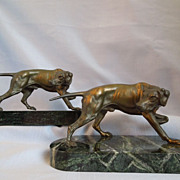 Art Deco ~ Bronze And Marble Hunting Dog Bookends~by Jennings Brothers