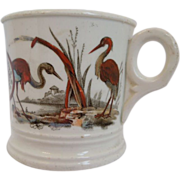 Antique ~ English  Aesthetic  Transferware ~ of Tom and Jerry  Mug  With Herons