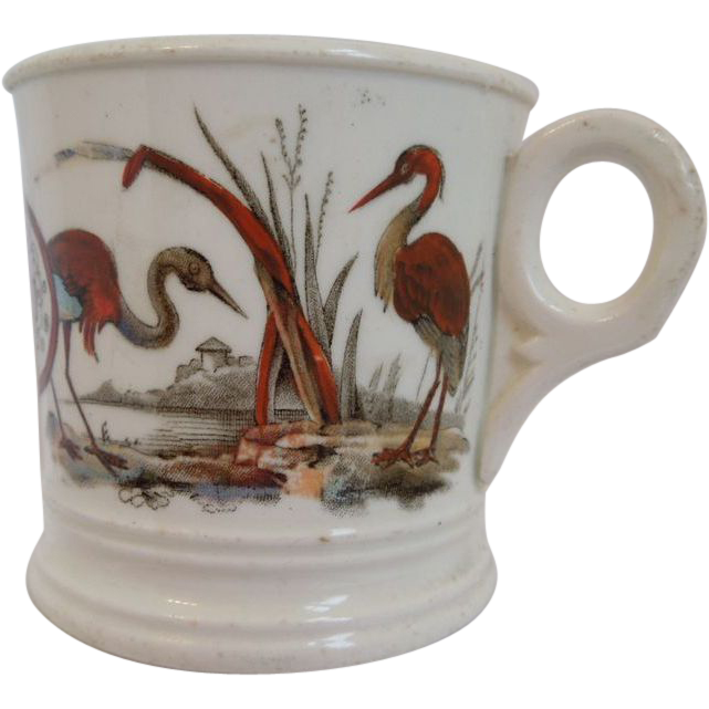 English Porcelain  Aesthetic  Transferware of Tom and Jerry  Mug  With Herons