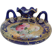 Nippon Porcelain Vase~ Cobalt & Encrusted Gold~ Hand Painted With Flowers