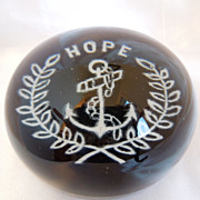 Antique American  Glass Millville Frit Paperweight Hope with anchor and Wreath