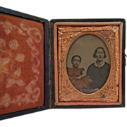 Antique Tinted  Ambrotype of Mother & Child with  Dress