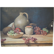 American Oil Painting~ Of Still Life, Grapes & Fruit~ By Listed Massachusetts Artist~ Henry Howard Brooks
