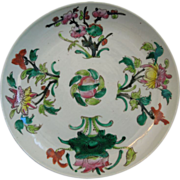 Chinese Plate With Floral Design~ Dated 1910-1920