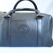 Vintage ~ Gucci Black Leather~ Boston Handbag Purse~ 1980's