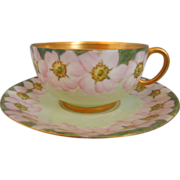 Limoges Jean Pouyat~ Hand Painted  Porcelain~Gold Gilt~ Floral Pattern~ Tea Cup and Saucer~Artist Initialed~Dated 1902
