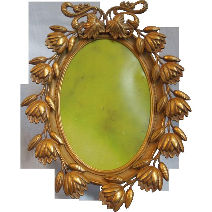 Antique Victorian Art Nouveau Ornate Oval Brass Frame