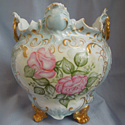 Antique~Limoges Porcelain~Tressemann&Vogt~ Large Jardiniere Planter Vase~Footed~Gold Gilt~Roses Ornate~ Dated 1899~Hand Painted by Artist Signed