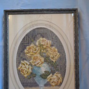 Vintage Colored Etching~ Floral Design with Bouquet of Yellow Roses~ Artist Signed~ Henry Dupont