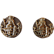 Antique Art Nouveau Metal Buttons Of Young Girl By A Fence, Pair