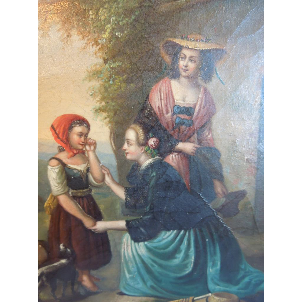 Antique, 19th Century Biedermeier Era Painting Of Two Women & Child, Pastoral Setting, Unsigned