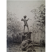 Vintage Etching of Peter Pan In Kensington Gardens, By British Artist Rowland Langmaid, Signed
