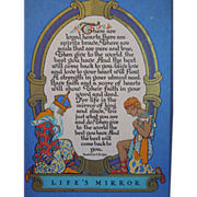 Art Deco Motto Or Poem Print Entitled, Life' s Mirror, By Madeline S. Bridges