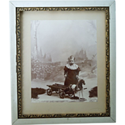 19th Century Framed Photograph Of Young Child With Toy Horse