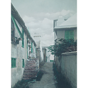 "Vintage Framed Hand Colored Photograph Of ""Shin Bone Alley"", Bermuda, Artist Signed, Stuart Hayward"