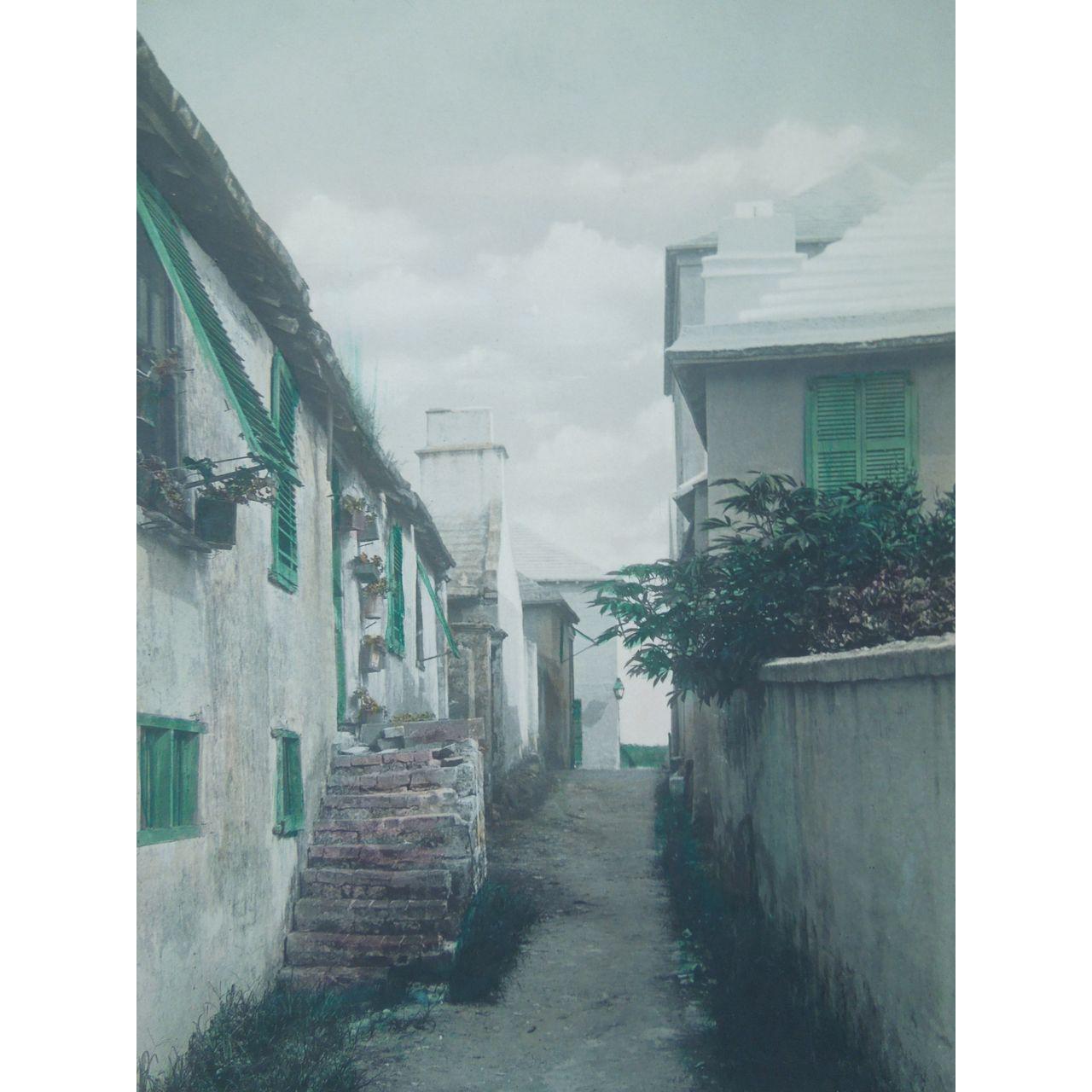 "Vintage Framed Hand Colored Photograph Of ""Shin Bone Alley"", Bermuda, Artist Signed, Stuart Hayward"