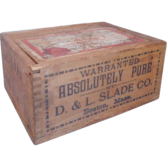 19th Century Advertising Wood  Spice & Herb Box, Slade & Co., Boston, Ma., Dated 1888