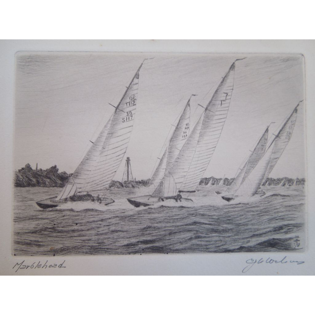 Vintage Etching of Harbor Scene With Schooner Yacht Race, Marblehead Massachusetts, Artist Signed, Charles J.A. Wilson