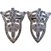 Art Deco Rhinestone Sterling Dress Clips Pair, 1930's