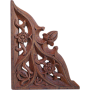 Antique Hand Carved Gothic Wood Corbel Bracket, 1900