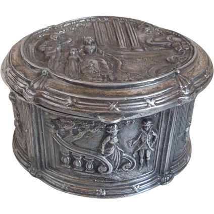 Antique Jennings Brothers Neo-Classical Silverplate Repousse Jewelry Casket
