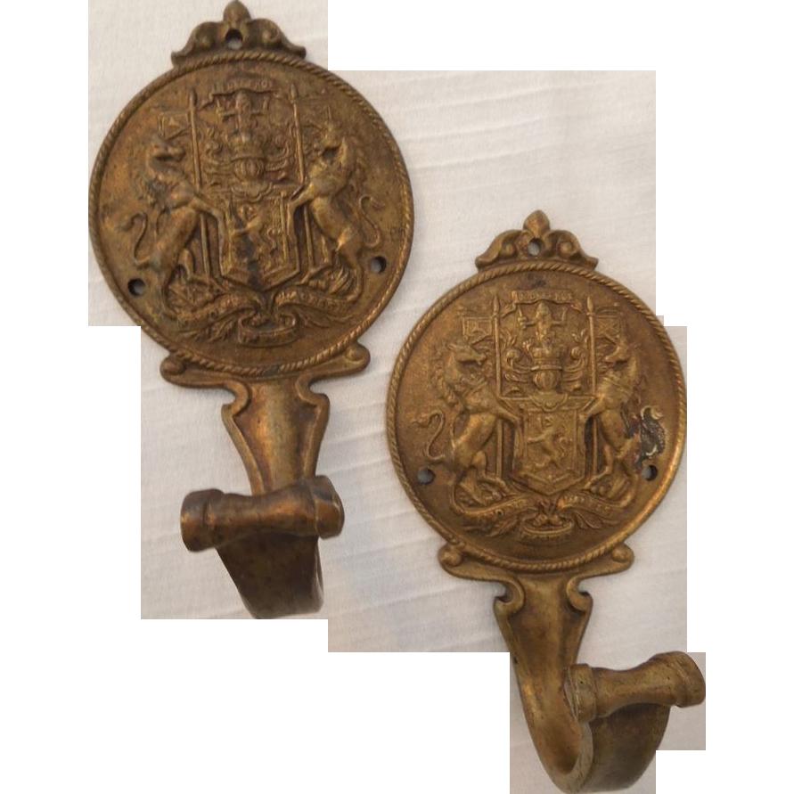 Antique Pair Of Bronze Brass Coat Of Arms Curtain Tiebacks 1910 From Merrimanantiqueanddesign