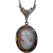 Art Deco Shell Cameo Pendant Lavalier Necklace