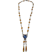 Vintage Art Deco Necklace With Heart Shaped Pendant, Topaz & Blue Glass Stones, 1920's