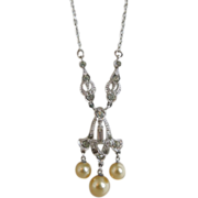 Art Deco Rhinestone And Imitation Pearl Pendant Necklace  1930's