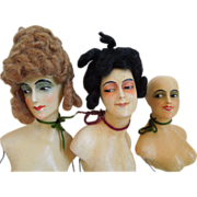 Antique Composition Hand Painted Head Dolls, Display, Set Of Three,  Berlin, Germany Circa 1900's