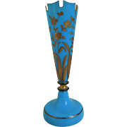 19th Century French Blue Trumpet Vase
