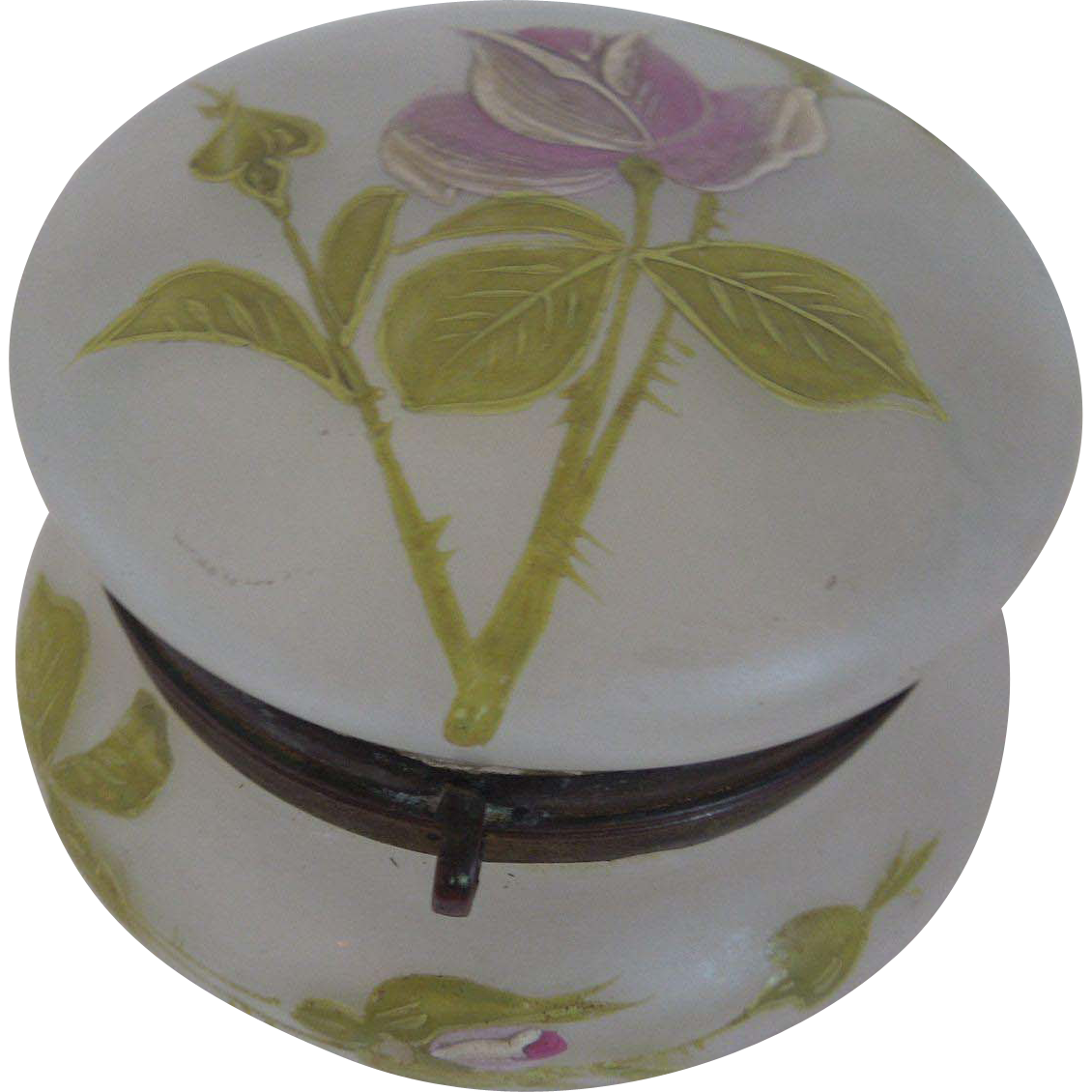 19th Century Moser Enamel Bonbon Or Powder Jar With Rose