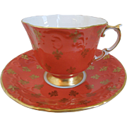 Aynsley Fleur De Lis Porcelain Coral Tea Cup And Saucer