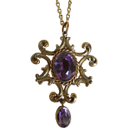 Art Nouveau Amethyst GF Pendant Necklace