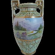 Nippon Hand Painted Porcelain Vase With Landscape Scene, Gilt  Work