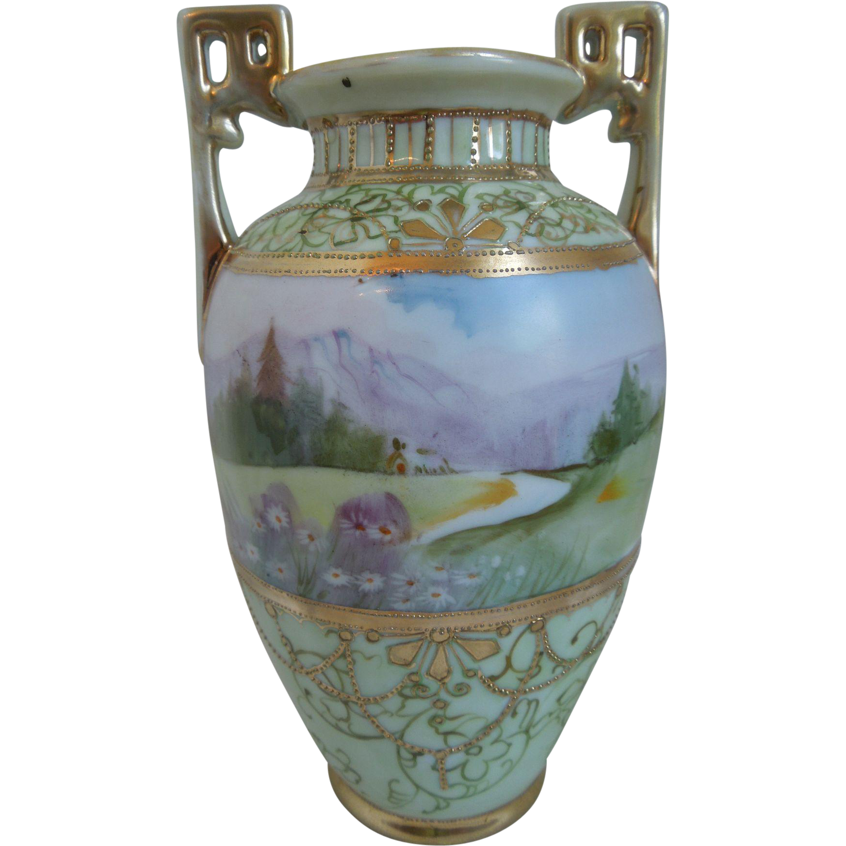 Nippon hand painted porcelain vase with landscape scene gilt work nippon hand painted porcelain vase with landscape scene gilt work merriman antique and design ruby lane reviewsmspy